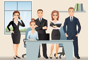 Meeting business people. Teamwork. Office employees discussing and brainstorming in meeting room. / Vector illustration, flat design