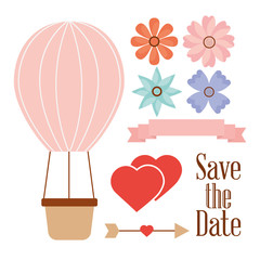 save the date balloon basket hearts flowers and arrow vector illustration