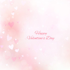 Valentine's Day background with hearts and bokeh