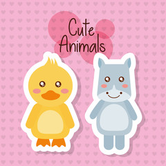 two cute animals baby duck and hippo friendly vector illustration