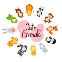 set cute animals wildlife fauna vector illustration