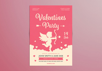 Valentine's Day Party Flyer with Cupid Illustration