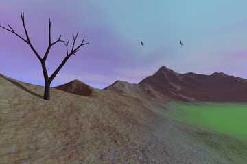 Desert, a rocky landscape, dry mountain, a black tree and birds in the blue sky.
