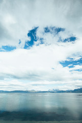View on the Beagle Channel in National Park Tierra del Fuego in Ushuaia, Argentina