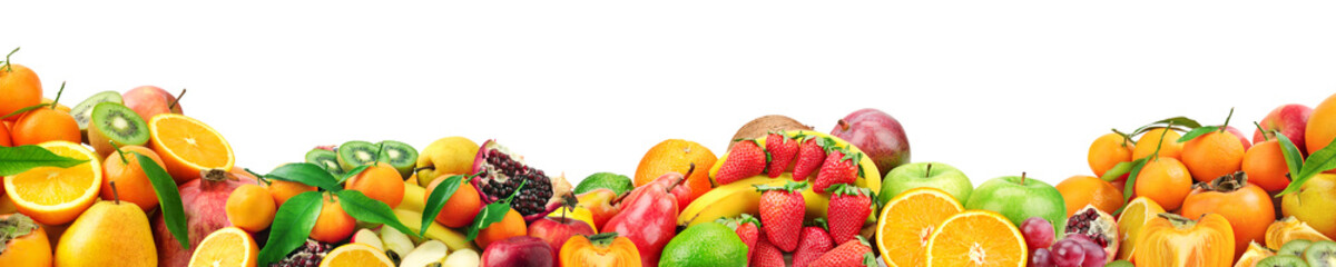 Fresh healthy fruits for project isolated on white background. Free space for text.