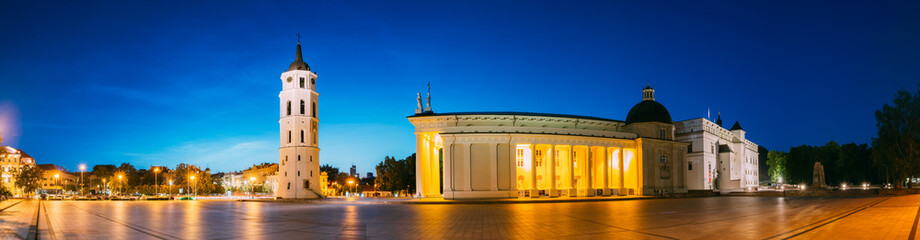 Vilnius, Lithuania, Eastern Europe. Evening Night Panorama Of Bell Tower