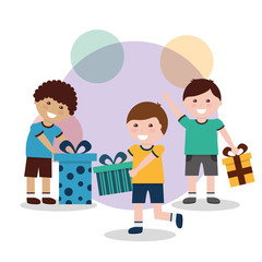 kids male smiling with gift boxes vector illustration
