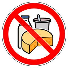 srr325 SignRoundRed - german - Verbotszeichen: Käse / Milch / Joghurt / Milchprodukte verboten - english - prohibition sign - cheese / milk / yoghurt / dairy prohibited - xxl g5811