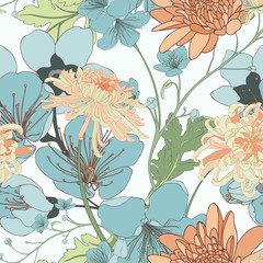 Chrysanthemum Bloom Seamless Vector Pattern