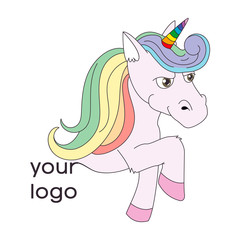 Logo with a unicorn for your company. Pegasus Icon. Flat illustration.