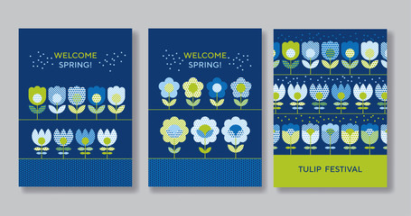 Cute decorative flower poster set for web and print surface design. Green and blue color floral abstract motif in retro style with geometric texture on marine blue background.