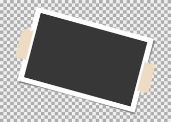 Photo frame with sticky tape on isolate background. Template, blank for photo or image