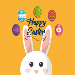 happy easter face bunny animal cute eggs vector illustration