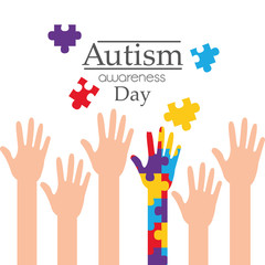 autism awareness day raised hands support campaign vector illustration