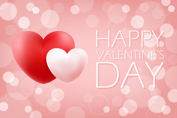 Happy Valentine's Day romantic background with realistic red and pink hearts. 14 february holiday greeting card. Vector Illustration.