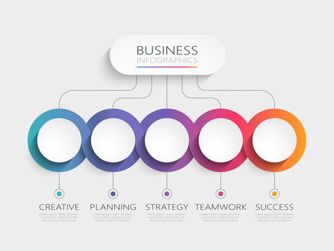 Modern 3D infographic template with 5 steps. Business circle template with options for brochure, diagram, workflow, timeline, web design. Vector EPS 10