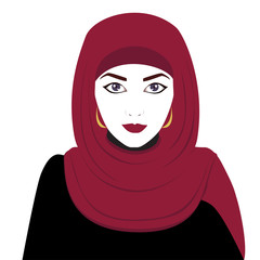 Beautiful muslim woman in hijab on her head. Asian muslim lady wearing traditional hijab