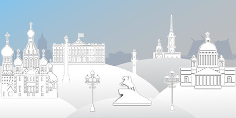 anorama of Saint Petersburg paper art style vector illustration. Petersburg architecture. Cartoon Russia symbols and objects. Winter St. Petersburg