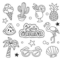 Summer icons collection. Vector illustration of summer outline icons - cactus, flamingo, ice cream, palm, pineapple and sunglasses. Isolated on white.
