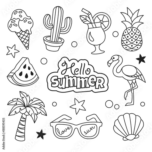 quotsummer icons collection vector illustration of summer