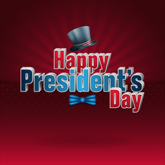 Holidays, design, background with top hat on national flag colors for American President's Day, event celebration
