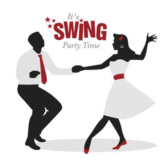 Fototapete - Swing Party Time: Silhouettes of young couple wearing retro clothes dancing swing or lindy hop