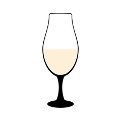Vine-glass silhouette of goblets with wine or drinks isolated on white background. Alkohol vector illustration.