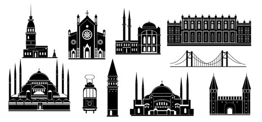 Cartoon Turkey symbols and objects set: Saint Sophie Cathedral, Maiden's Tower, palace of Topapa, Galata Tower, bridge of Bosporus, Republic Monument, Saint Anthony's Church. Istanbul architecture.