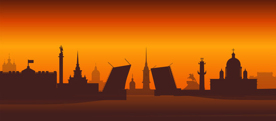 Panorama of Saint Petersburg flat style vector illustration. Petersburg architecture. Cartoon Russia symbols and objects. Night St. Petersburg