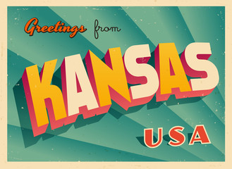Vintage Touristic Greetings from Kansas, USA Postcard - Vector EPS10. Grunge effects can be easily removed for a brand new, clean sign.