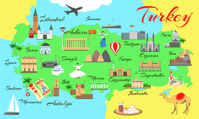 Map of turkey with main sights for tourists. Turkish attraction.