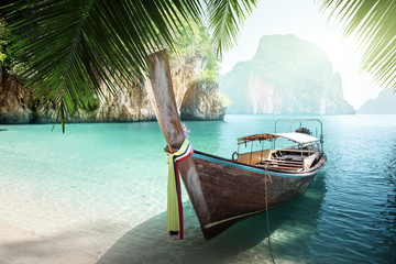Wall Mural - long boat on island in Thailand