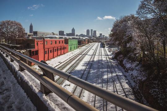 Snowy Atlanta Train Tracks