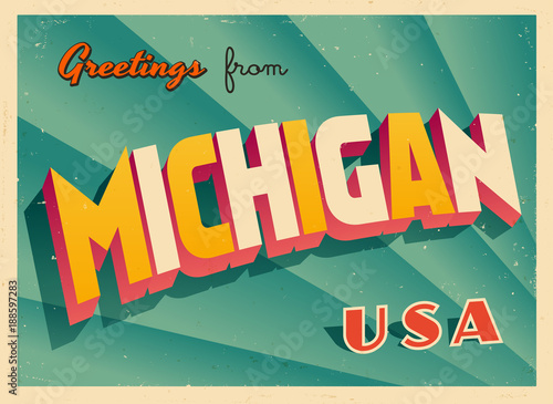 Vintage touristic greetings from michigan usa postcard vector vintage touristic greetings from michigan usa postcard vector eps10 grunge effects can be m4hsunfo