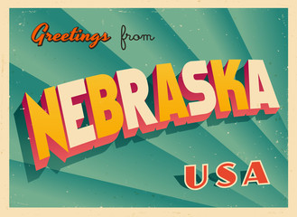 Vintage Touristic Greetings from Nebraska, USA Postcard - Vector EPS10. Grunge effects can be easily removed for a brand new, clean sign.