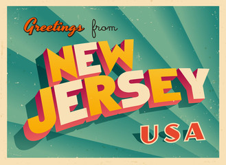 Vintage Touristic Greetings from New Jersey, USA Postcard - Vector EPS10. Grunge effects can be easily removed for a brand new, clean sign.