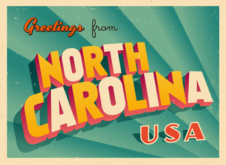 Vintage Touristic Greetings from North Carolina, USA Postcard - Vector EPS10. Grunge effects can be easily removed for a brand new, clean sign.