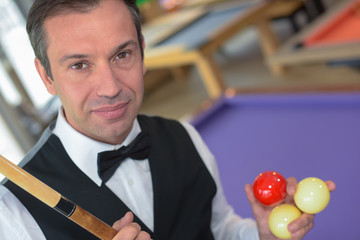 portrait of a man before playing snooker