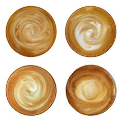 Top view of hot coffee cappuccino spiral milk foam isolated on white background, set of  four with clipping path.