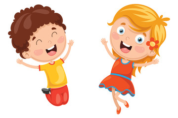 Vector Illustration Of Kids Jumping