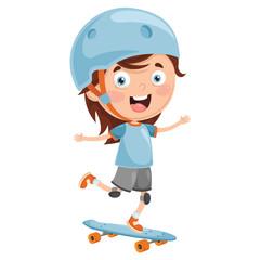 Vector Illustration Of Kid Skateboarding