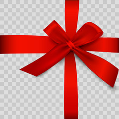 Gift box with red ribbon isolated on transparent background. Vector illustration.