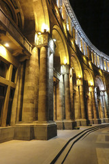 Building on Republic Square at night. Until 2016 this building housed the Ministry of Foreign Affairs of Armenia.