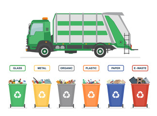 Garbage truck and garbage cans isolated on white background. Sorting garbage. Ecology and recycle concept. Vector illustration.