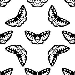 Monochrome vector seamless pattern. Endless butterfly elements. Modern background texture.
