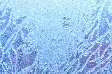 Natural picture of nature in winter. Frozen abstract background with ice texture