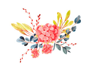 Elements for design on a spring theme, in the style of watercolor.