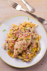 Chicken breast and egg noodles with bacon and mushrooms in creamy sauce. View from above, top, vertical