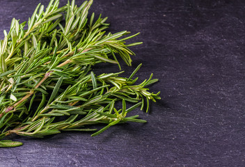 Rosemary and thyme on the black background, copy space.