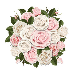 White and pink roses bouquet. Element for floral design of a greeting, wedding or invitation card. Bouquet of decorative garden flower. Bud, petals and leaves of plant.